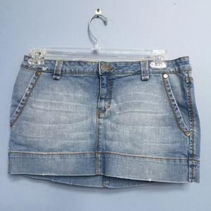 Decree Distressed Denim Miniskirt